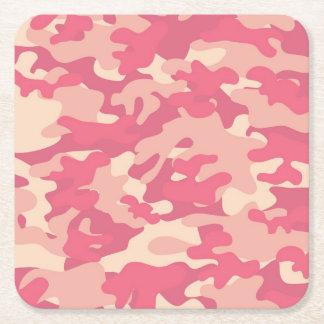 Pink Camo Design Square Paper Coaster