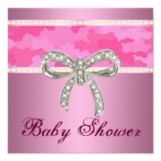 Pink Camo Diamond Bow Baby Shower Invitation