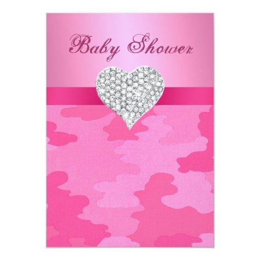 pink camo diamond heart baby shower invitation 5 x 7 invitation c