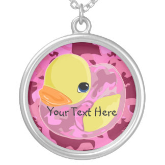 Pink Camo Ducky Silver Plated Necklace