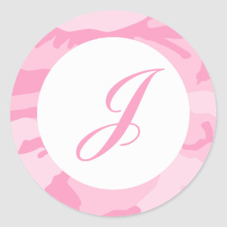 Pink Camo Envelope Seals Classic Round Sticker
