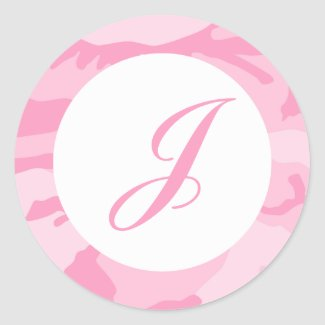 Pink Camo Envelope Seals Stickers