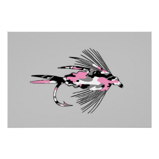 Pink Camo Fly Fishing Lure Print