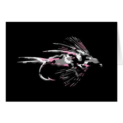 Pink Camo Fly Fishing Lure Stationery Note Card