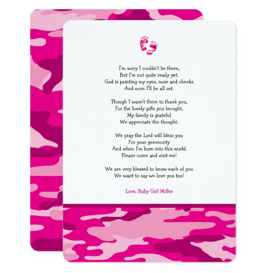 pink camo girl poem baby shower thank you note invitation zazzle com