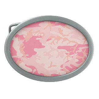 Pink Camo - Girly Camo Oval Belt Buckles