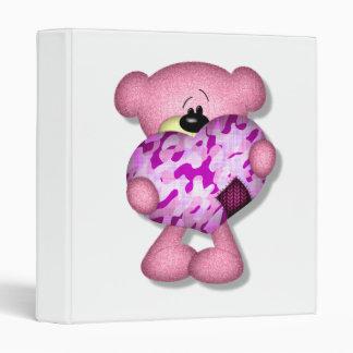 pink camo heart bear 3 ring binder