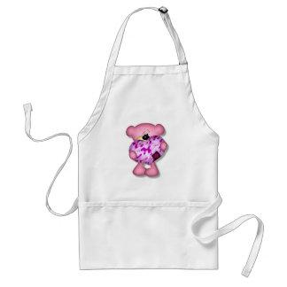 pink camo heart bear aprons