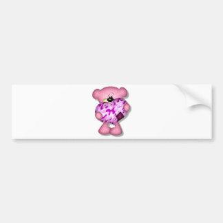 pink camo heart bear bumper sticker