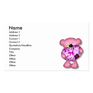 pink camo heart bear business card