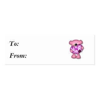 pink camo heart bear business card template