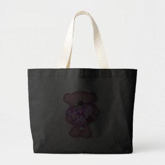 pink camo heart bear canvas bag