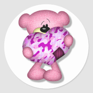 pink camo heart bear classic round sticker