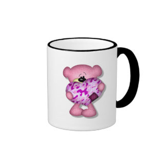 pink camo heart bear coffee mugs