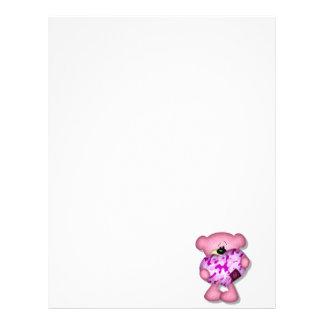 pink camo heart bear custom letterhead