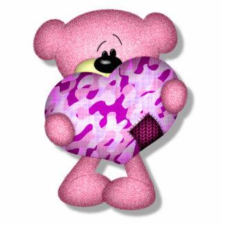 pink camo heart bear cut out