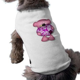 pink camo heart bear dog t shirt
