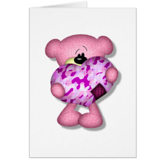 pink camo heart bear greeting cards