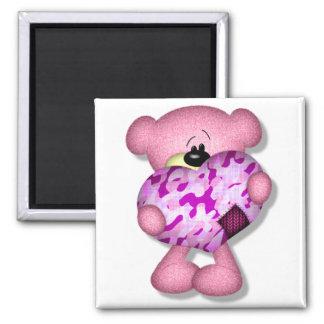 pink camo heart bear magnets