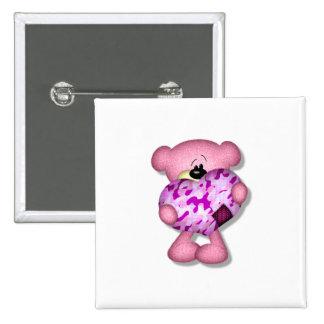 pink camo heart bear pinback button