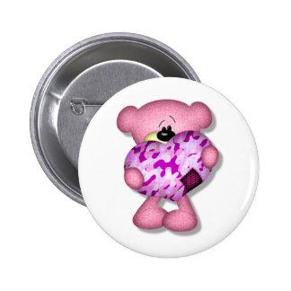 pink camo heart bear pins