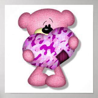 pink camo heart bear poster