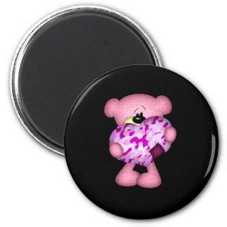 pink camo heart bear refrigerator magnets