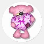pink camo heart bear round stickers