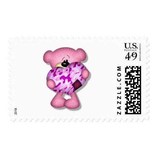 pink camo heart bear stamp