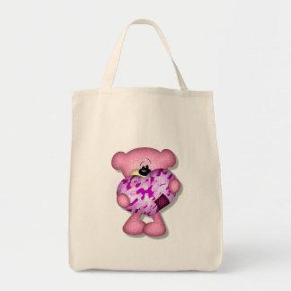 pink camo heart bear tote bags