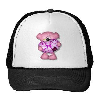 pink camo heart bear trucker hat