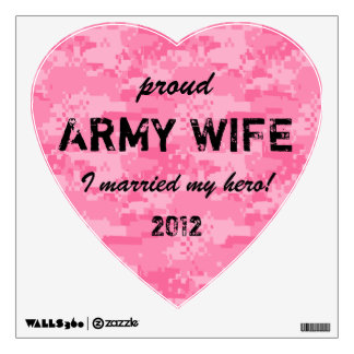 Pink Camo Heart Proud Army Wife Wall Decal