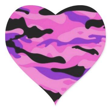Pink Camo Heart Sticker