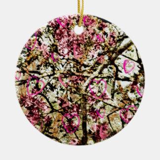 Pink Camo & Hearts Ceramic Ornament