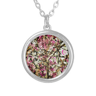 Pink Camo & Hearts Round Pendant Necklace