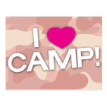 Pink Camo I LOVE CAMP! Postcard
