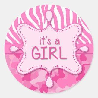 Pink Camo It's a Girl Sticker