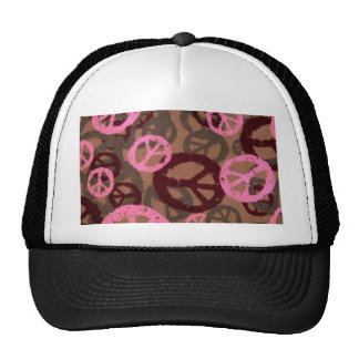 Pink camo Look Peace Signs Mesh Hat