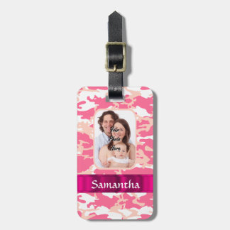 Pink camo luggage tags