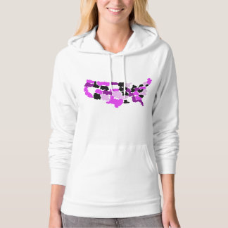 Pink Camo Map of America Patriotic Apparel Hooded Pullover