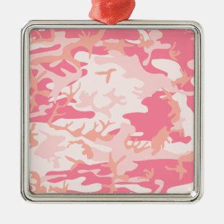 Pink Camo Metal Ornament