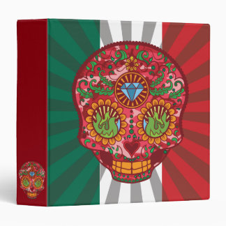 Pink Camo Mexican Day Of The Dead Sugar Skull 3 Ring Binder