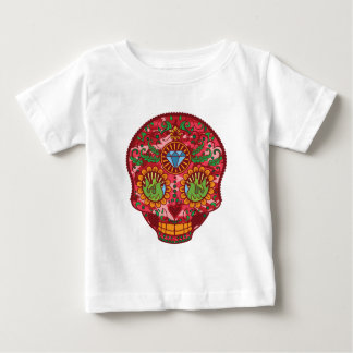 Pink Camo Mexican Day Of The Dead Sugar Skull Baby T-Shirt