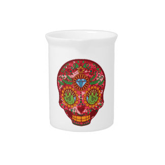 Pink Camo Mexican Day Of The Dead Sugar Skull Beverage Pitcher