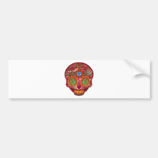 Pink Camo Mexican Day Of The Dead Sugar Skull Bumper Sticker