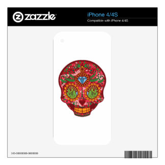 Pink Camo Mexican Day Of The Dead Sugar Skull iPhone 4S Decal