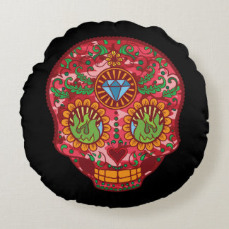 Pink Camo Mexican Day Of The Dead Sugar Skull Round Pillow