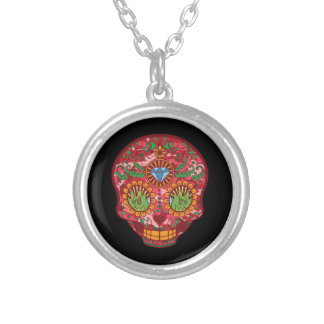 Pink Camo Mexican Day Of The Dead Sugar Skull Silver Plated Necklace