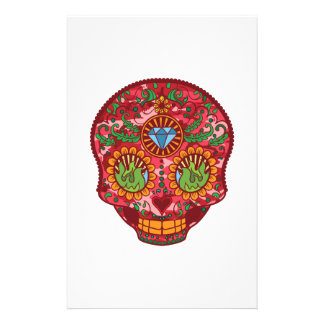 Pink Camo Mexican Day Of The Dead Sugar Skull Stationery