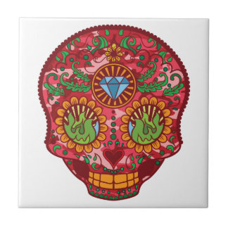 Pink Camo Mexican Day Of The Dead Sugar Skull Tile